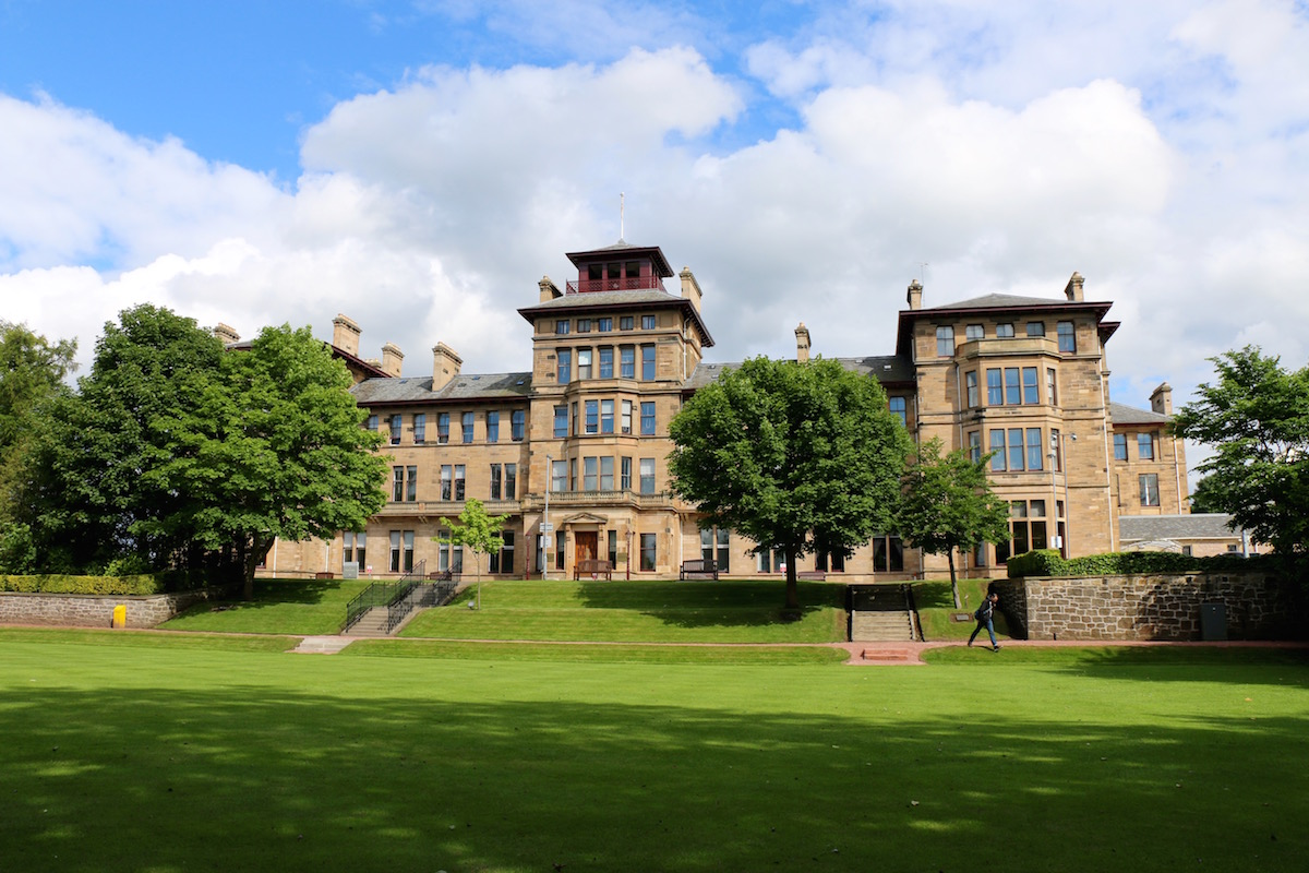 Craiglockhart campus of Edinburgh Napir University, June 2016. The War Poet's Collection is housed in the main floor atrium.