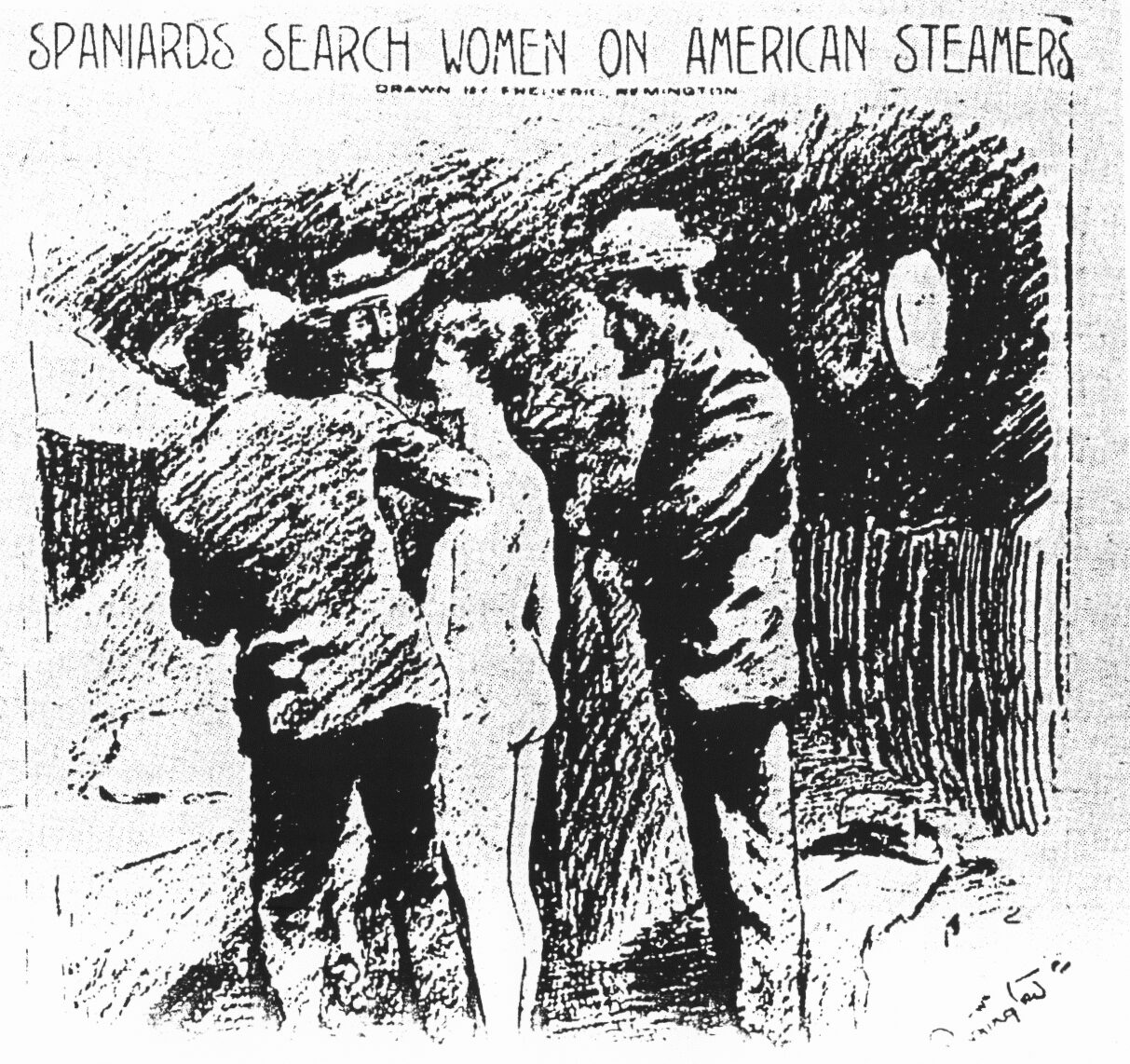 "Hearst's ""yellow journalism"":  Spanish officials strip search an American woman tourist in Cuba looking for messages from rebels (artist: Frederic Remington)"
