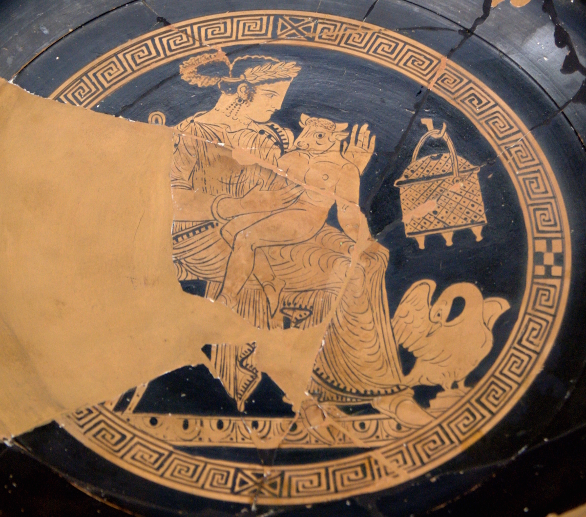 Pasiphaë and the Minotaur.  Attic-red figure kylix. 340-320 B.C. Bibliothèque nationale de France