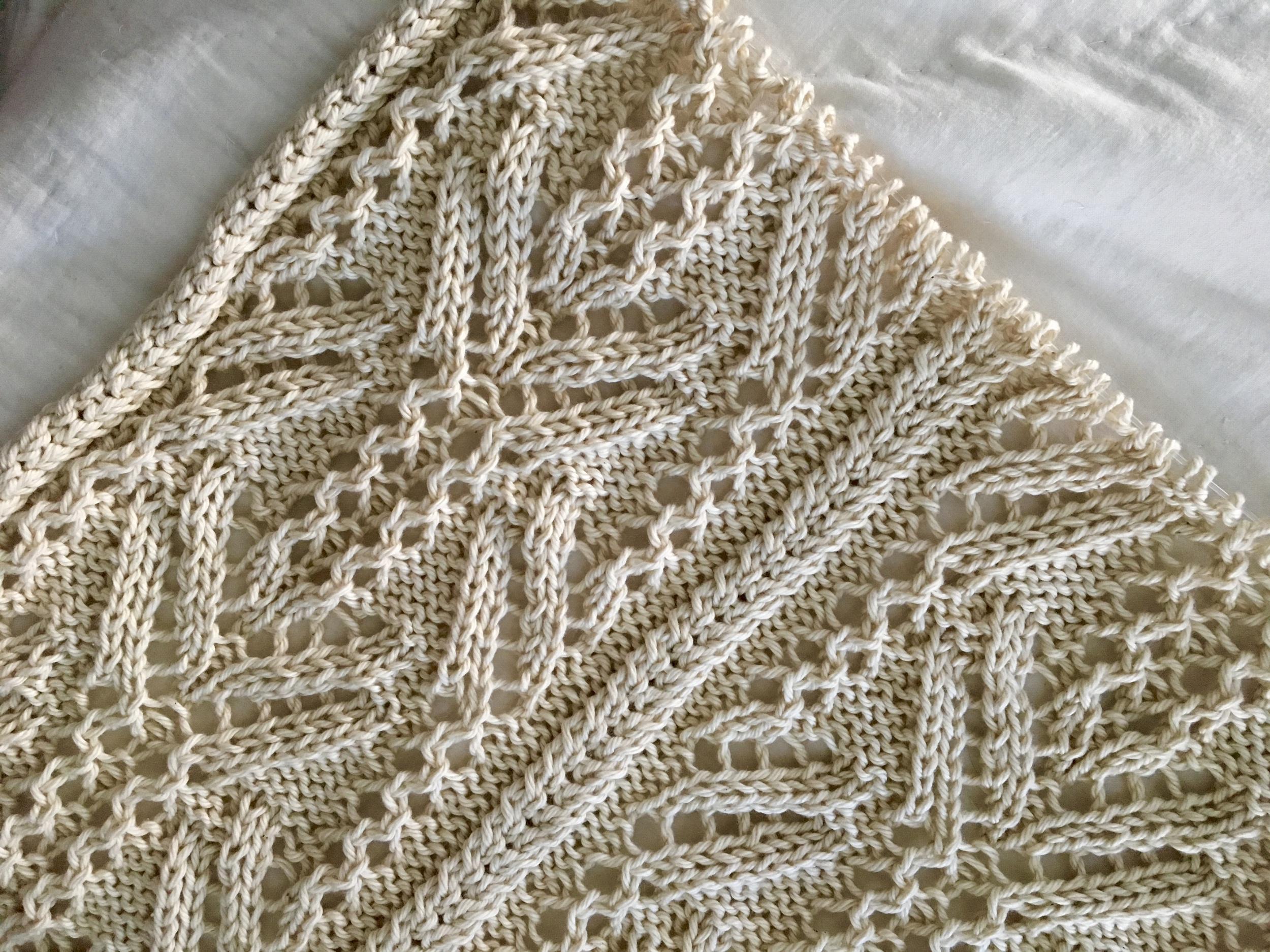 Lace cabled wrap detail