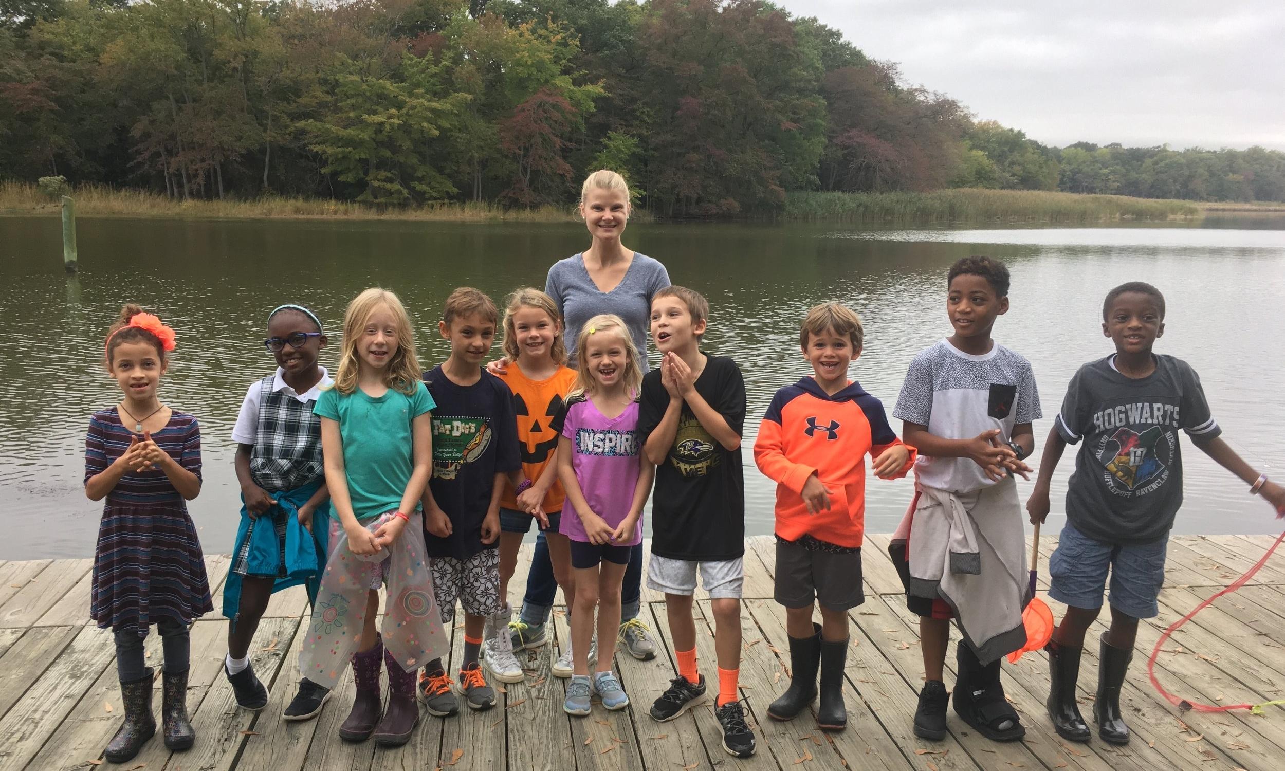 2nd grade students explore waterways at Gunpowder State Park.