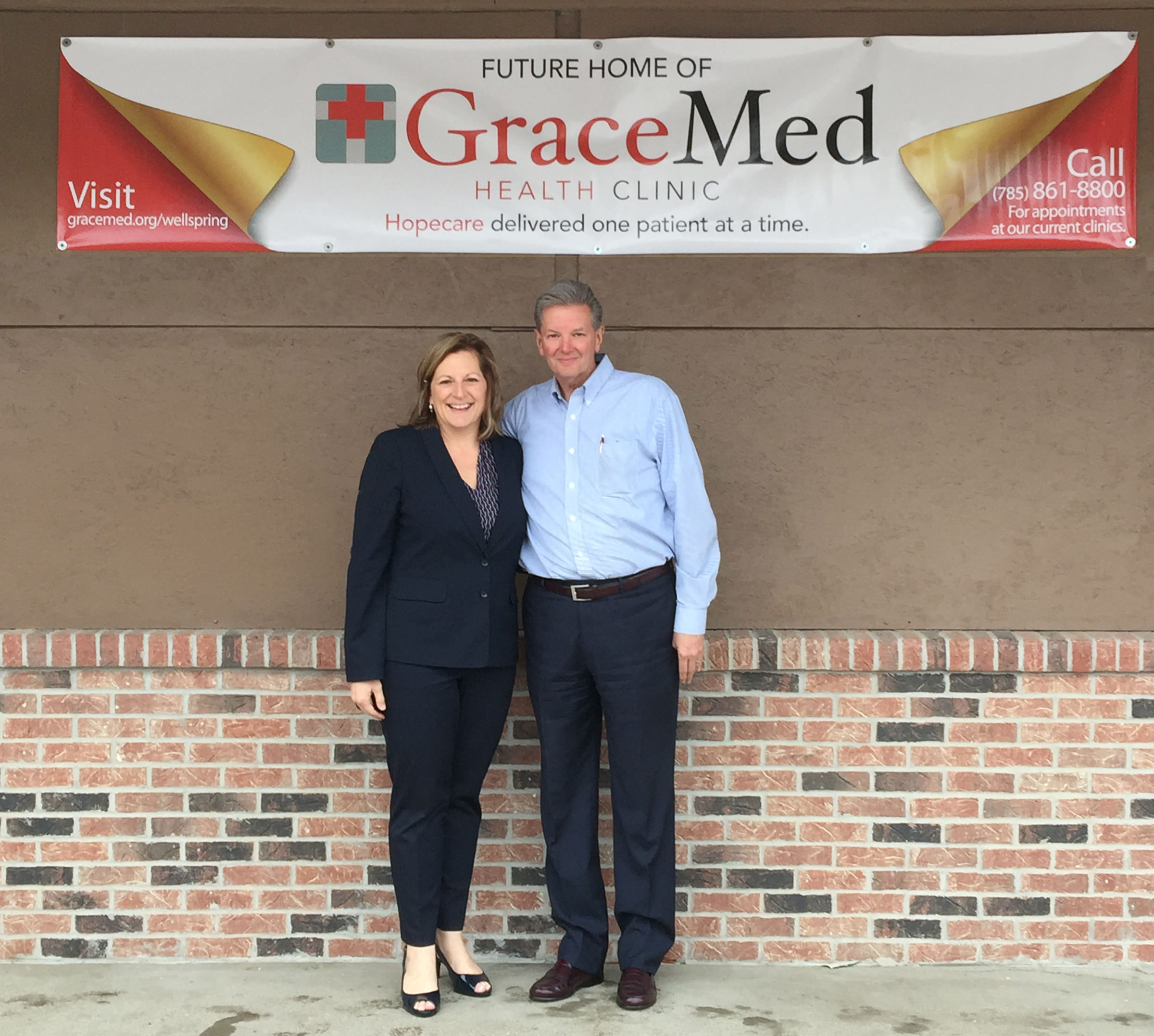 There are currently 25,000 Topekans who are considered to be medically underserved. The completion of this clinic will put GraceMed in a position to serve a significant number of them. - Left: GraceMed Director of Community Development Alice Weingartner and CEO Dave Sanford