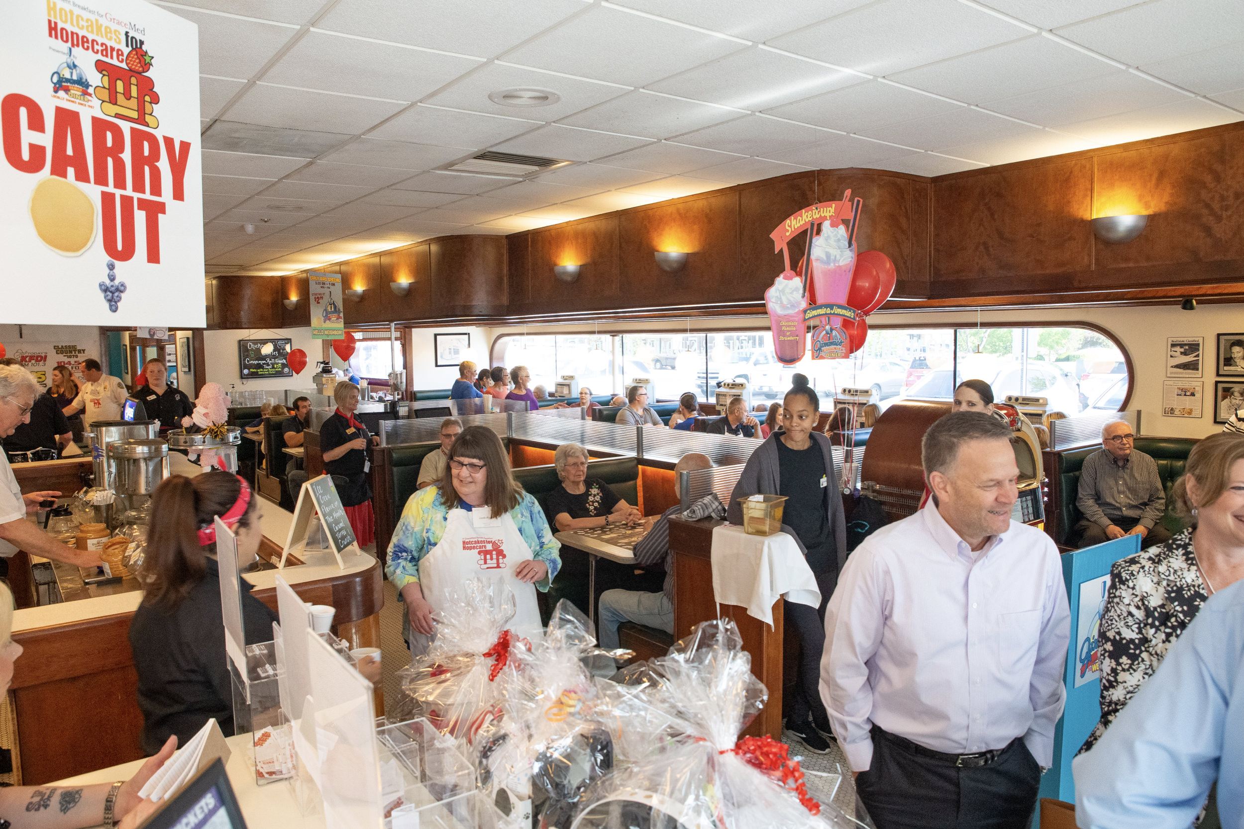 The packed house at Jimmie's Family Diner on North Rock Road.