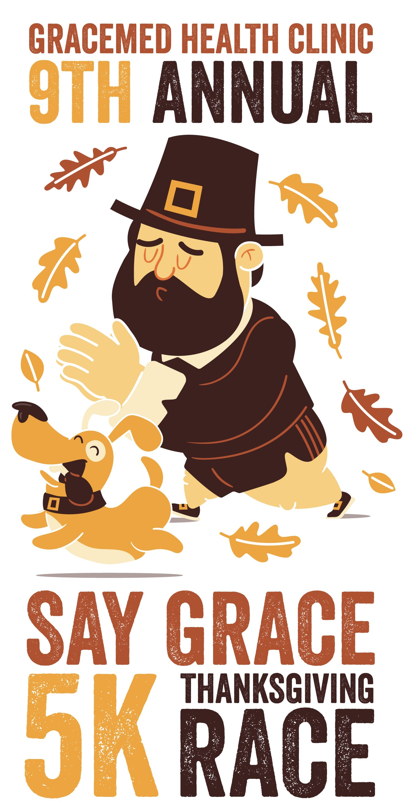 Say Grace Race graphic with pilgrim