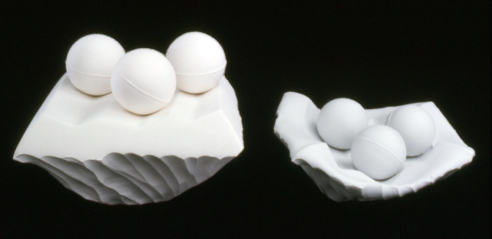 Crucible series: Slip-cast porcelain & mixed media constructions w/ experimental firing