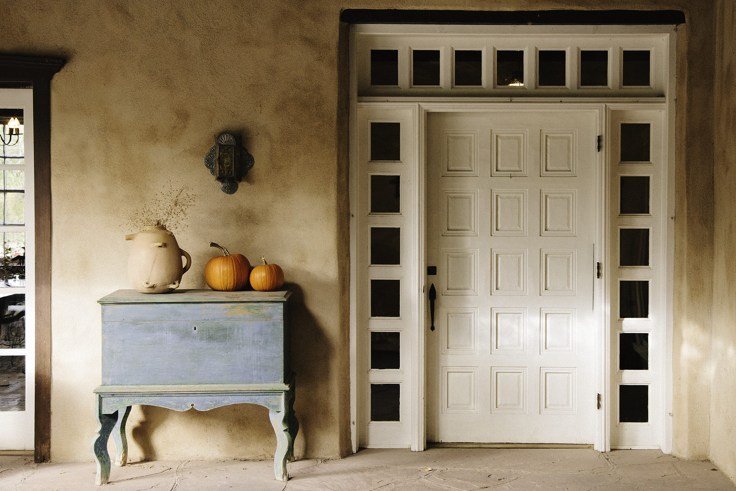 The front door of the ranch house at Los Poblanos Historic Inn and Organic Farm