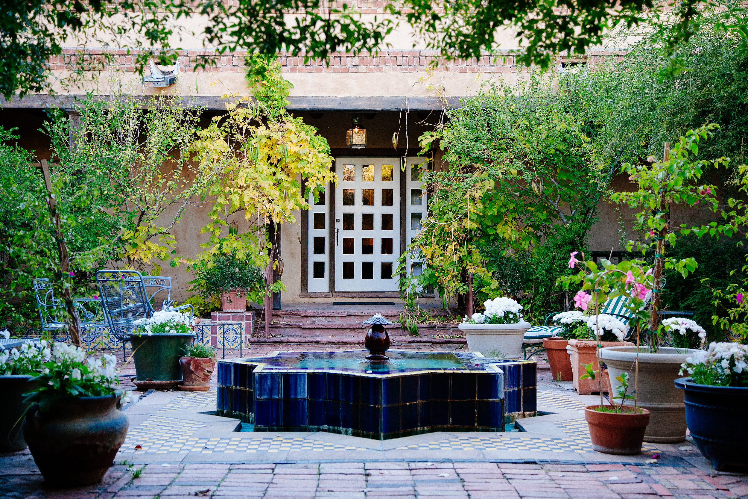 The courtyard at Lost Poblanos, designed by John Gaw Meem