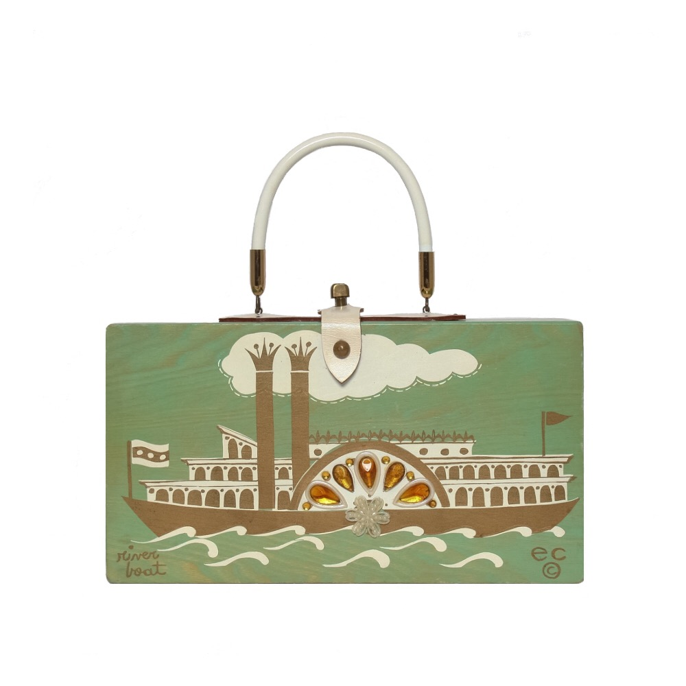 """Enid Collins of Texas 1965 """"river boat"""" box bag   height - 6 1/2"""" width - 11 7/8"""" depth - 2 3/4"""""""