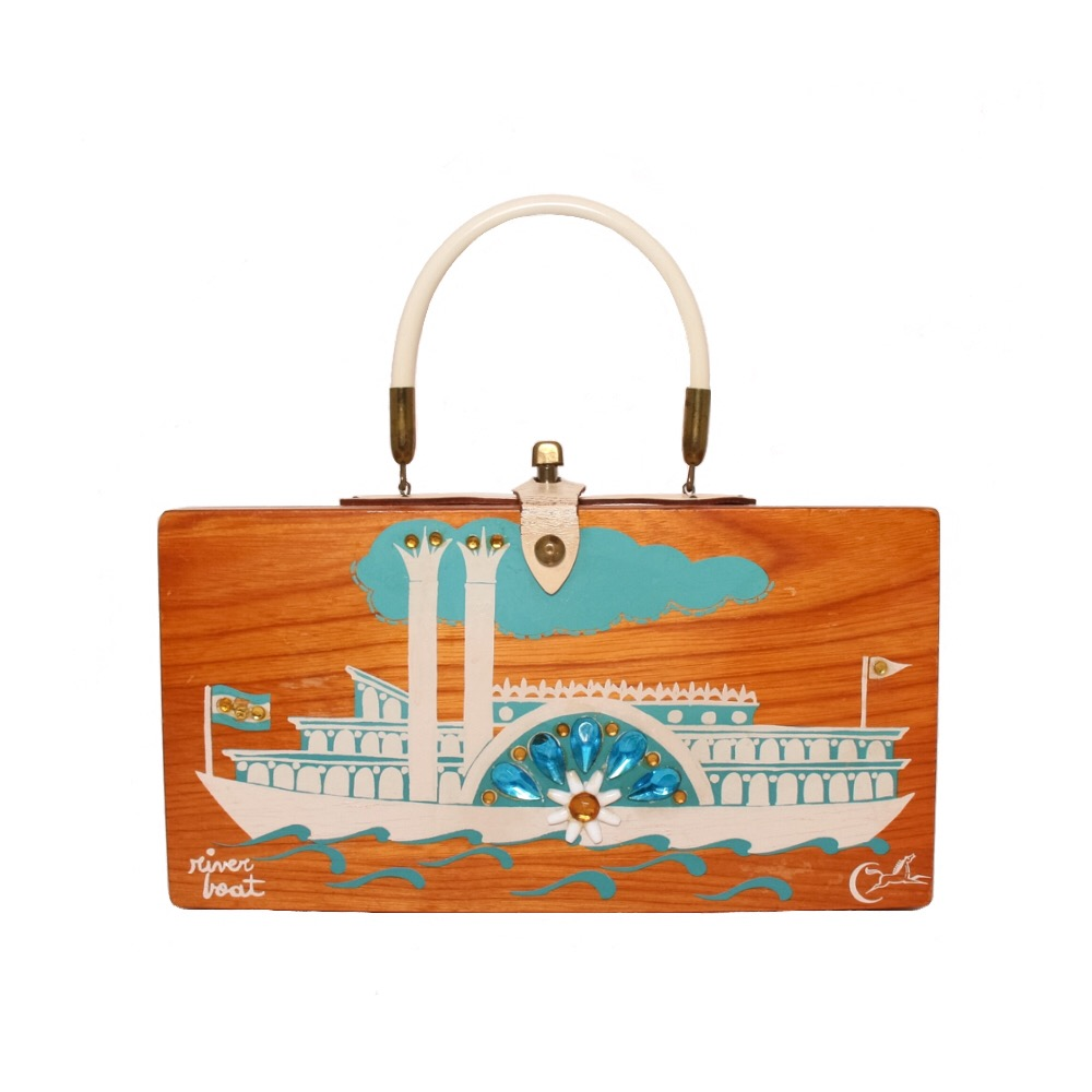 """Collins of Texas """"river boat"""" box bag   height - 5 7/8"""" width - 11 1/4"""" depth - 2 3/4"""""""