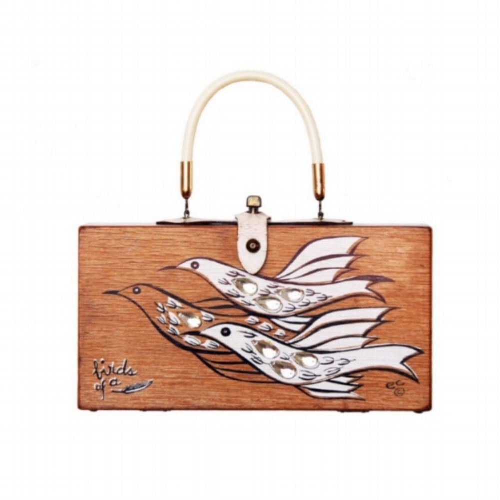 "Enid Collins of Texas 1962 ""birds of a feather"" box bag   height - 5 3/4""    width - 11 1/8""    depth - 2 3/4"""