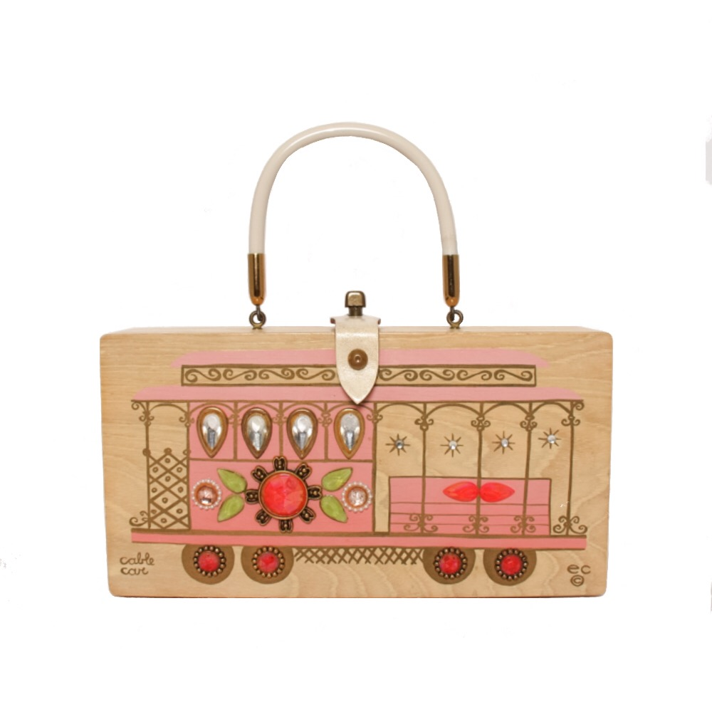 """Enid Collins of Texas """"cable car"""" box bag   height - 5 3/4""""  width - 11 1/8""""  depth - 2 3/4"""""""