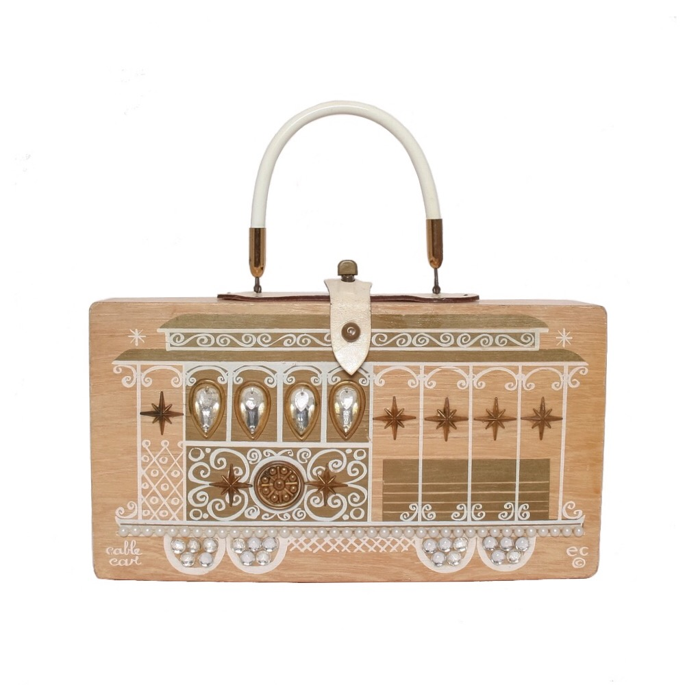 """Enid Collins of Texas 1964 """"cable car"""" box bag   height - 6 1/2""""  width - 11 7/8"""" depth - 2 3/4"""""""