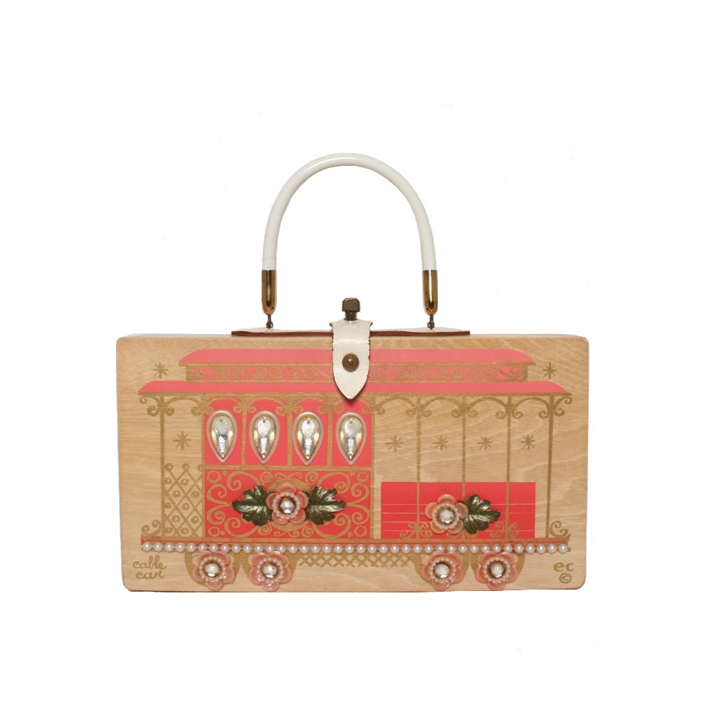 """Enid Collins of Texas 1964 """"cable car"""" box bag   height -6 1/2""""  width - 11 7/8""""  depth - 2 3/4"""""""