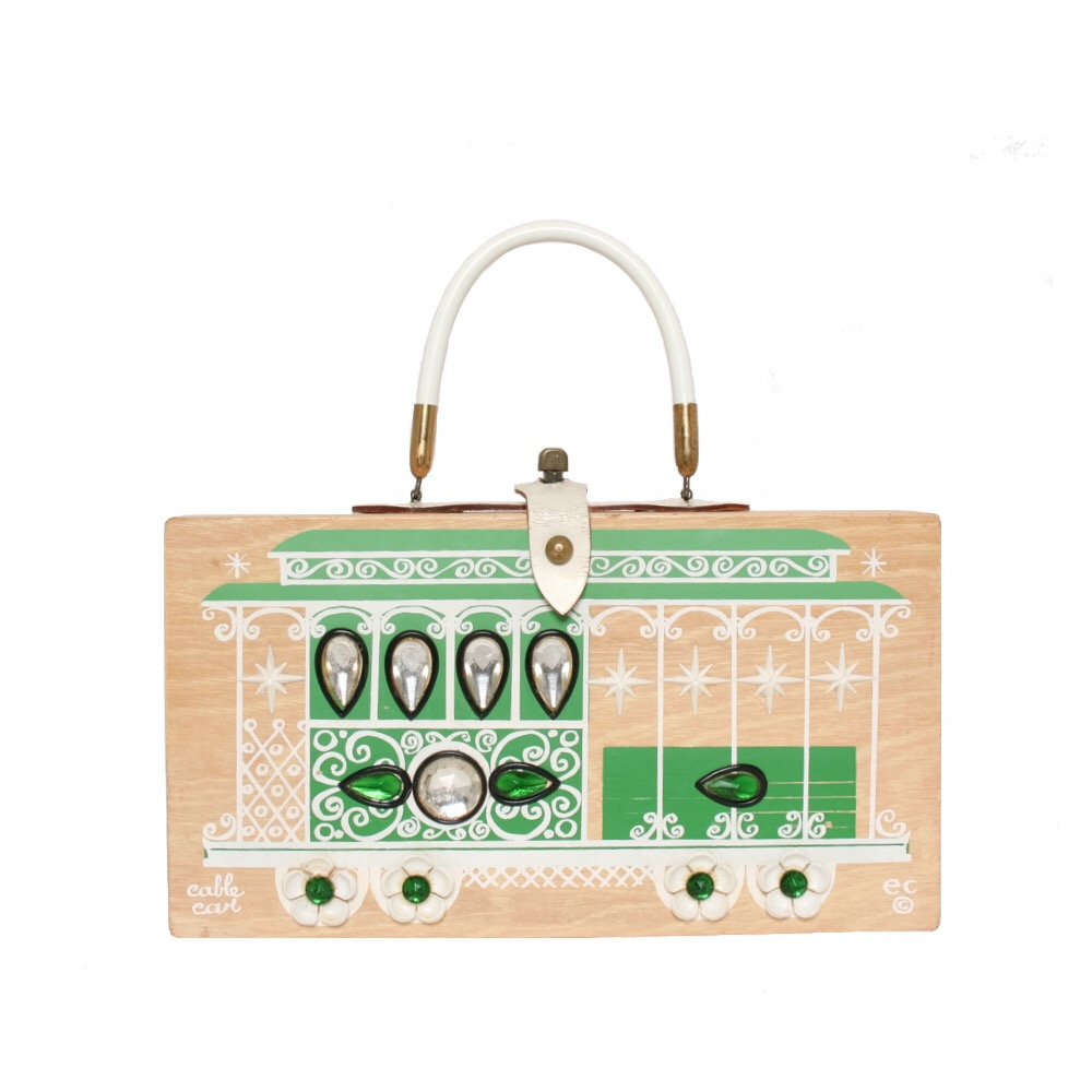"""Enid Collins of Texas 1966 """"cable car"""" box bag   height - 6 1/2"""" width - 11 7/8""""  depth -2 3/4"""""""