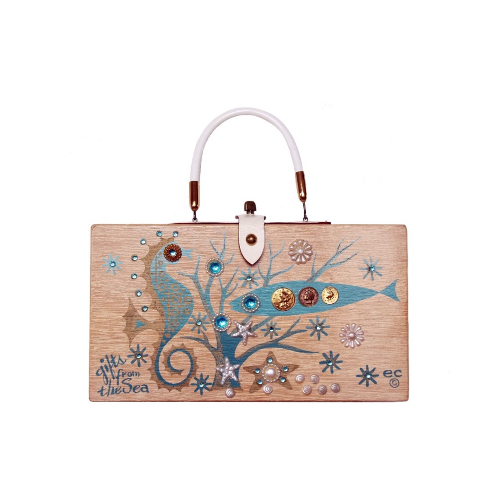 """Enid Collins of Texas 1963 """"gifts from the Sea"""" box bag   height - 6 1/2"""" width - 11 3/4"""" depth -2 3/4"""""""