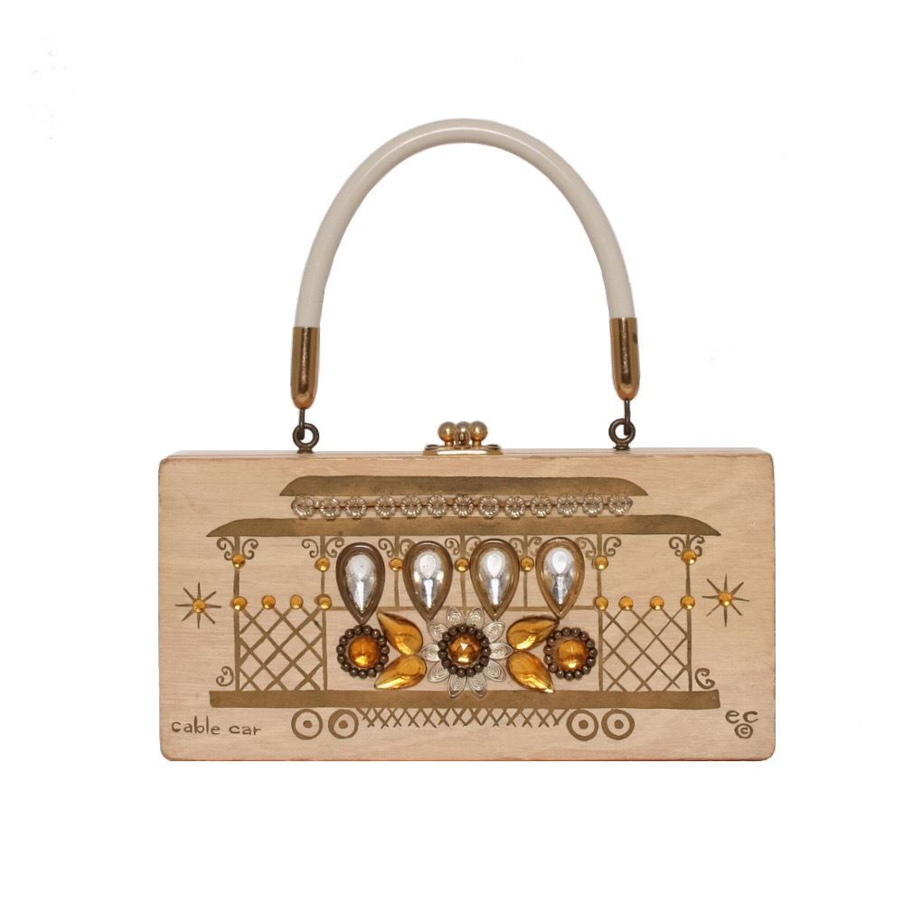 """Enid Collins of Texas """"cable car"""" box bag   height - 4 1/4"""" width - 8 1/2""""depth - 1 7/8"""""""
