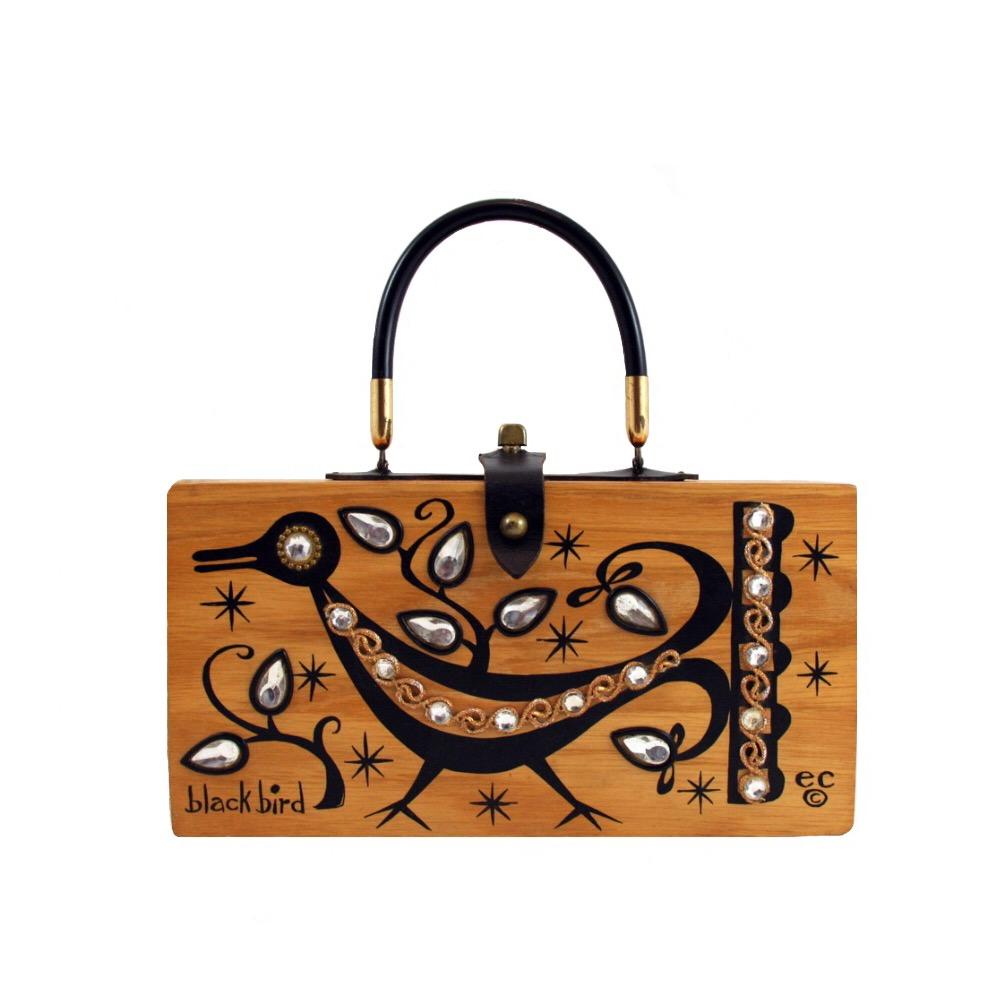 "Enid Collins of Texas 1964 ""black bird"" box bag   height - 5 3/4"" width - 11 1/8"" depth - 2 3/4"""