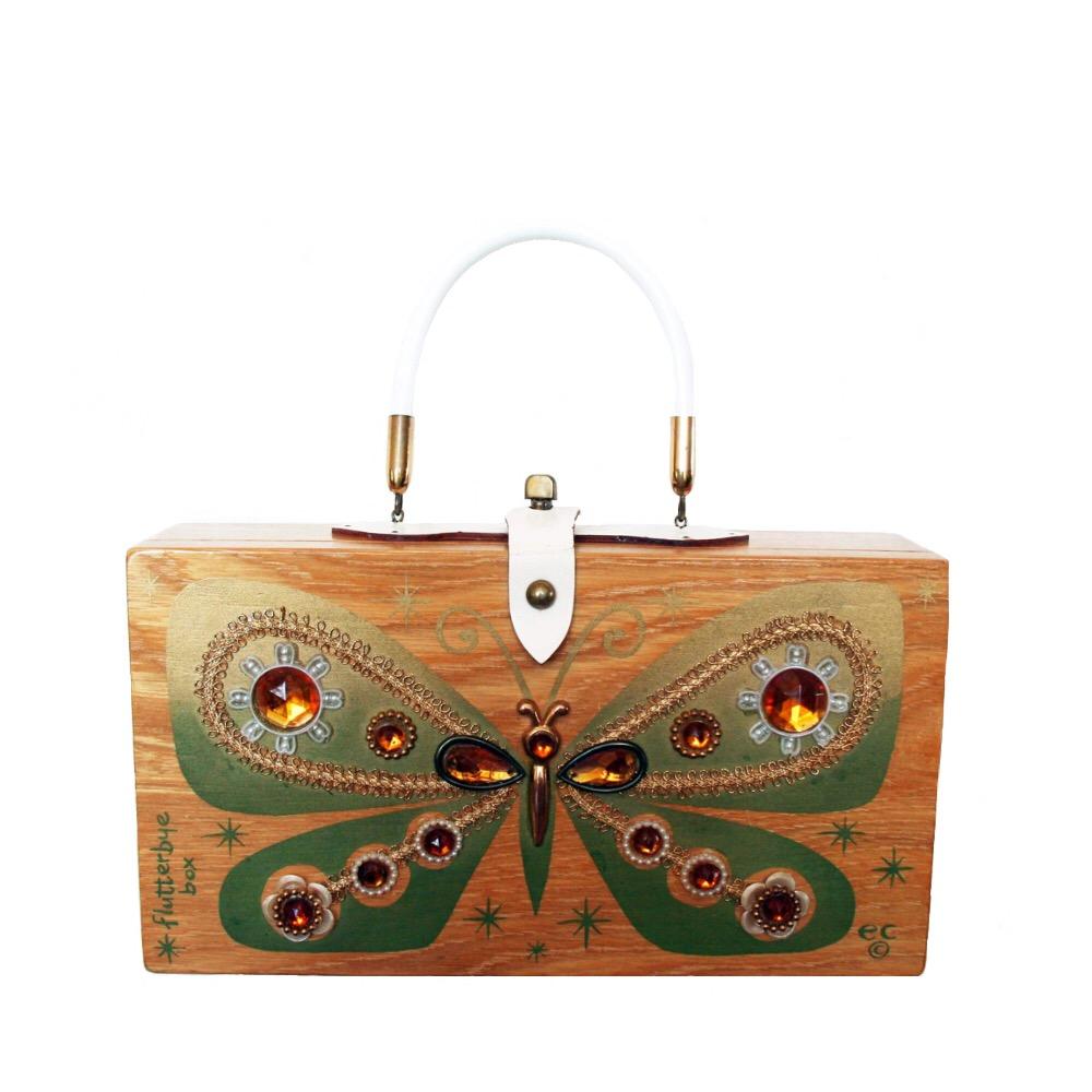 "Enid Collins of Texas 1966 ""flutterbye box"" box bag   height - 6 1/2"" width -11 7/8"" depth - 2 3/4"""