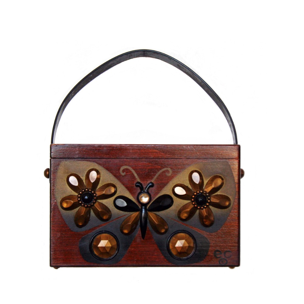 """Enid Collins of Texas untitled (flutter-bye)box bag   height - 4 5/8"""" width - 7 1/4"""" depth - 3 1/2"""""""