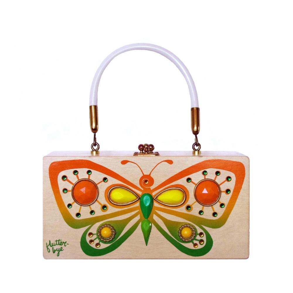 "Enid Collins of Texas ""flutter-bye"" box bag   height - 4 1/4"" width - 8 5/8"" depth - 3 1/4"""