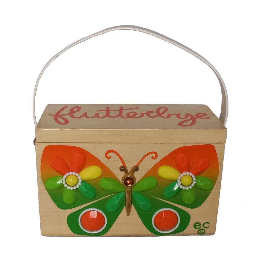 "Enid Collins of Texas ""flutter-bye"" box bag   height - 4 1/2"" width - 7 1/4"" depth - 3 1/2"""