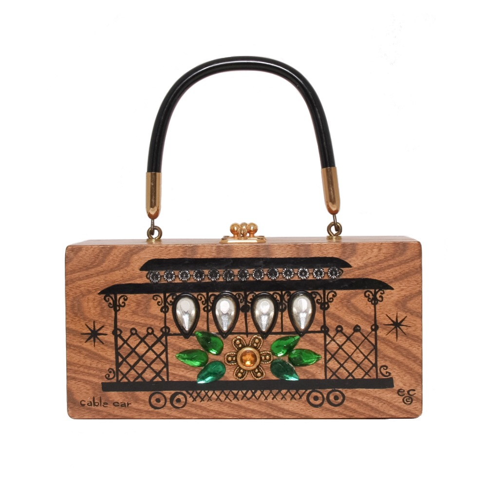 """Enid Collins of Texas """"cable car"""" box bag   height - 4 1/4""""  width - 8 1/2"""" depth - 2 1/4"""""""