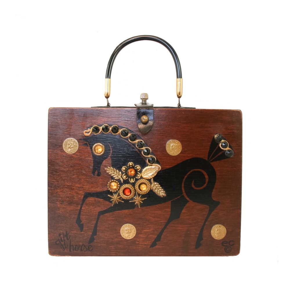 """Enid Collins of Texas 1963 """"gift horse"""" box bag   height - 4 1/4""""  width - 8 1/2""""  depth - 1 7/8"""""""
