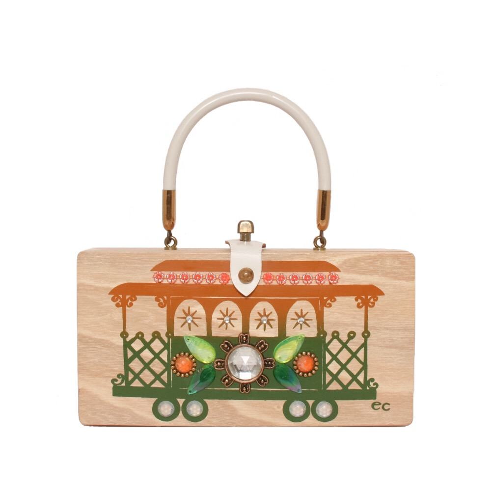 """Enid Collins of Texas """"cable car"""" box bag   height - 4 7/8""""  width - 9 3/8"""" depth - 2 1/4"""""""