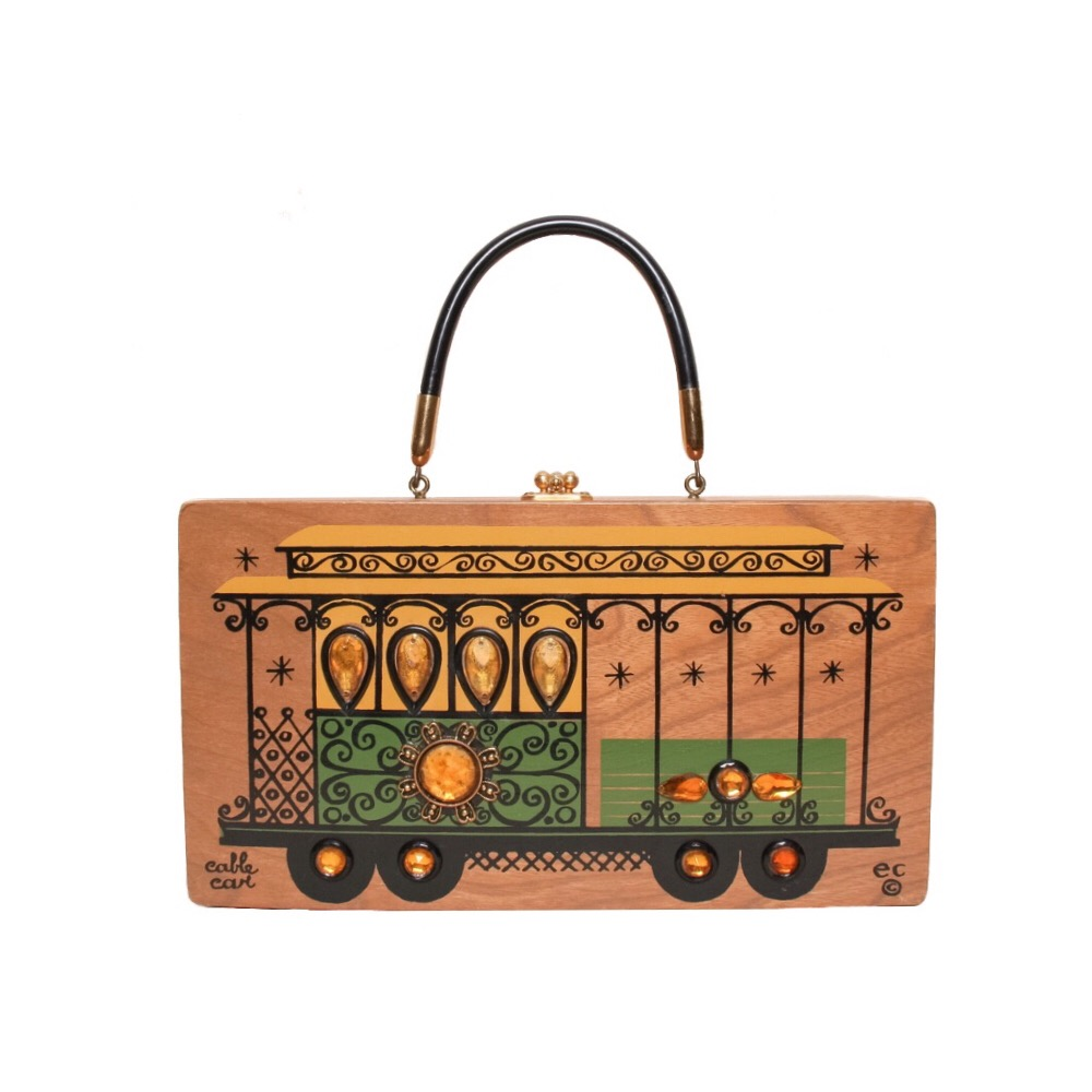 """Enid Collins of Texas 1967 """"cable car"""" box bag   height - 6 1/2""""  width - 11 7/8"""" depth - 2 3/4"""""""