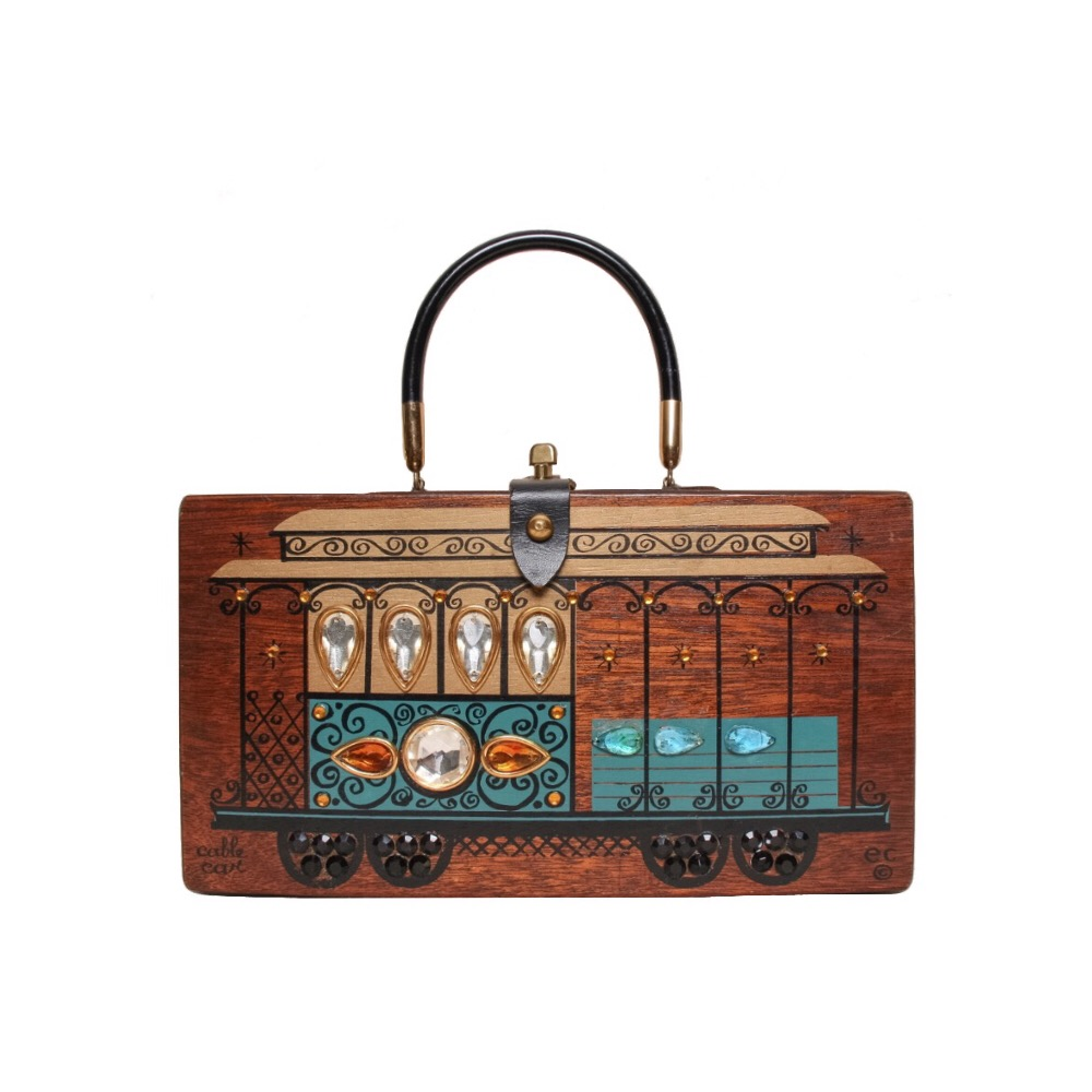 """Enid Collins of Texas 1966 """"cable car"""" box bag   height - 6 1/2"""" width - 11 7/8""""  depth - 2 3/4"""""""