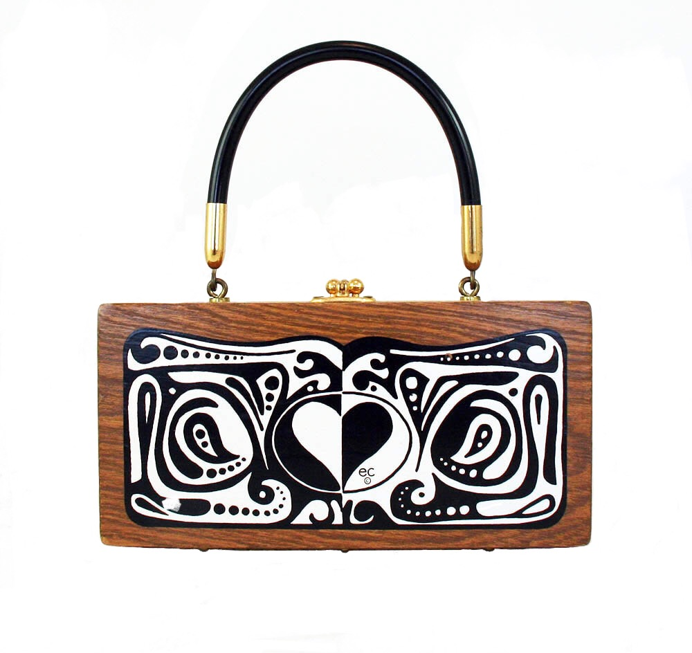 "Enid Collins of Texas ""LOVE"" box bag   height 4 1/4""   width 8 1/2""   depth 1 7/8"""