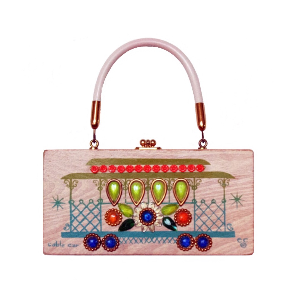 """Enid Collins of Texas """"cable car"""" box bag   height - 4 1/4""""  width - 8 5/8""""  depth - 2 1/4"""""""