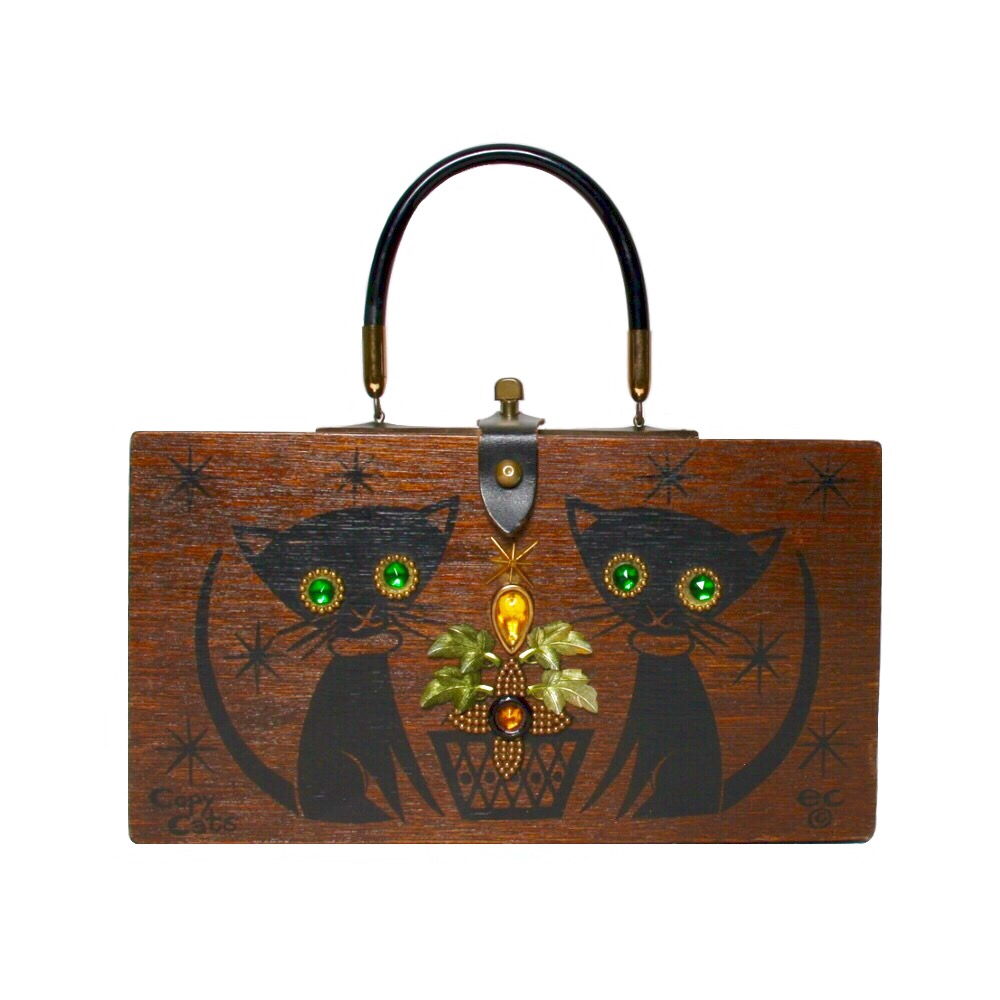 """Enid Collins of Texas 1965 """"Copy Cats"""" box bag   height 6 1/2""""  width 11 7/8"""" depth 2 3/4"""""""
