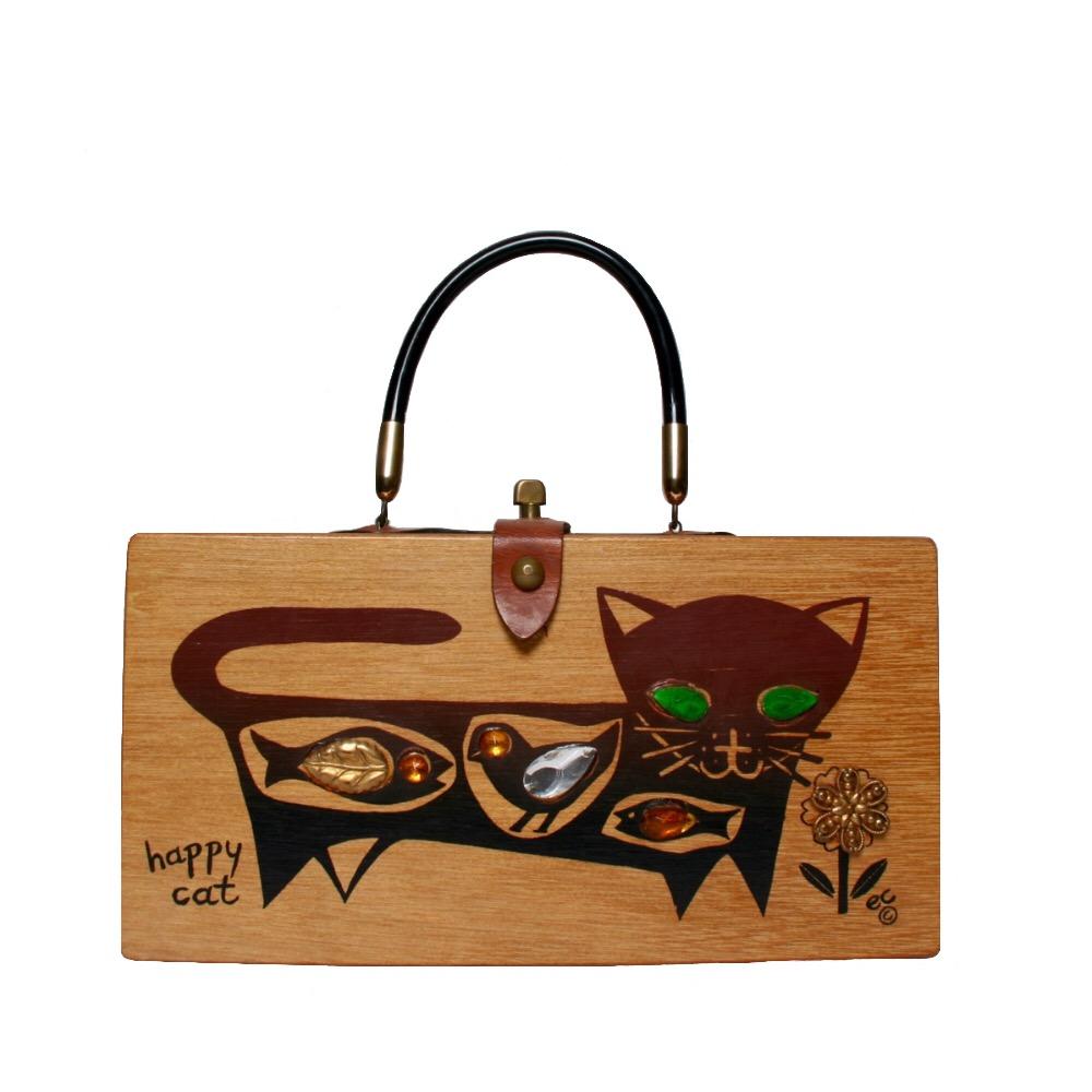 "Enid Collins of Texas 1962 ""happy cat"" box bag   height - 5 3/4""  width - 11 1/8""  depth - 2 3/4"""