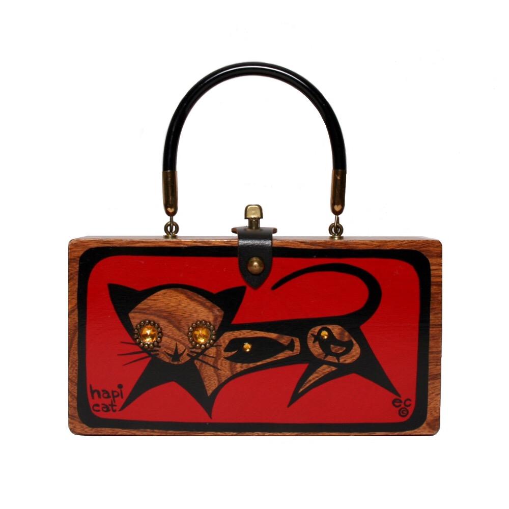 "Enid Collins of Texas ""hapi cat"" box bag   height - 4 7/8""  width - 9 3/8""  depth - 2 1/4"""