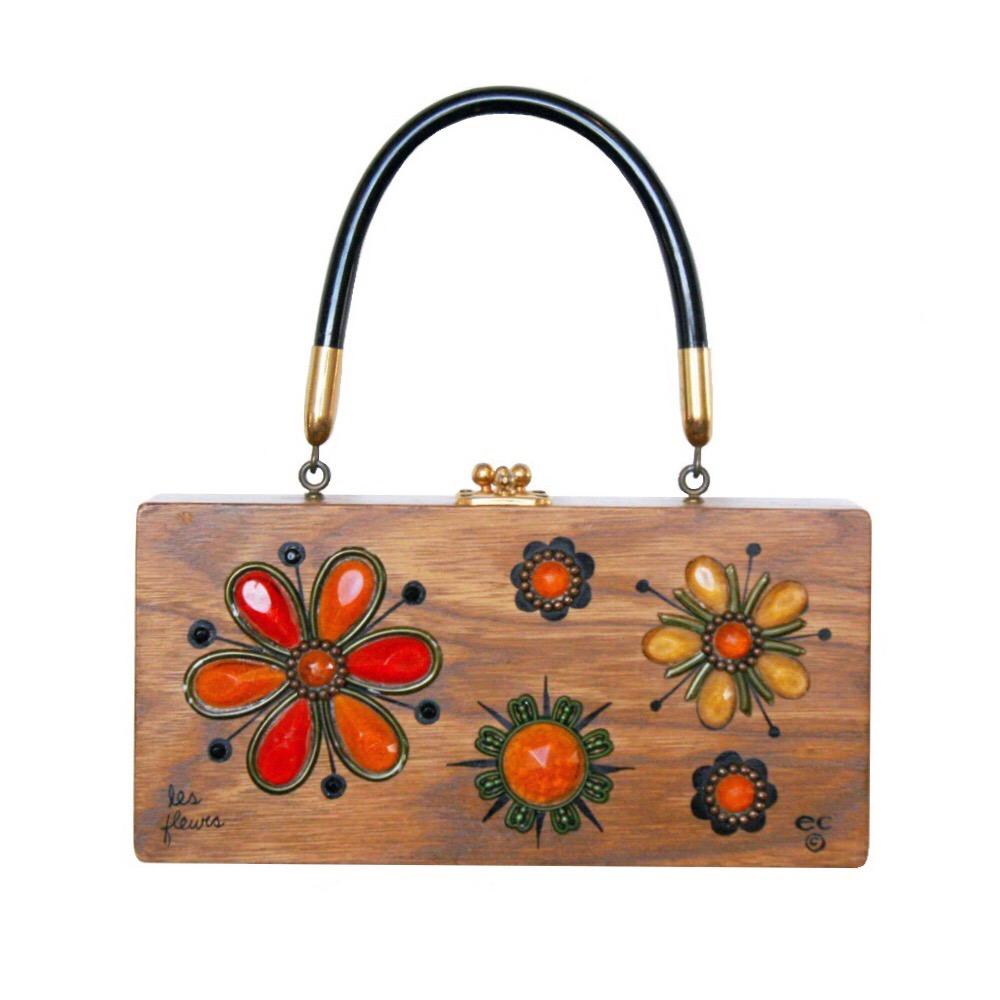 "Enid Collins of Texas ""les fleurs"" box bag   height - 4 1/4"" width - 8 5/8""  depth - 1 7/8"""