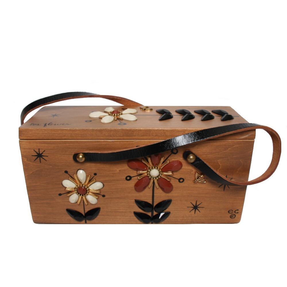 "Enid Collins of Texas ""les fleurs"" box bag   height - 5 3/8"" width - 8 5/8""  depth - 11 1/4"""