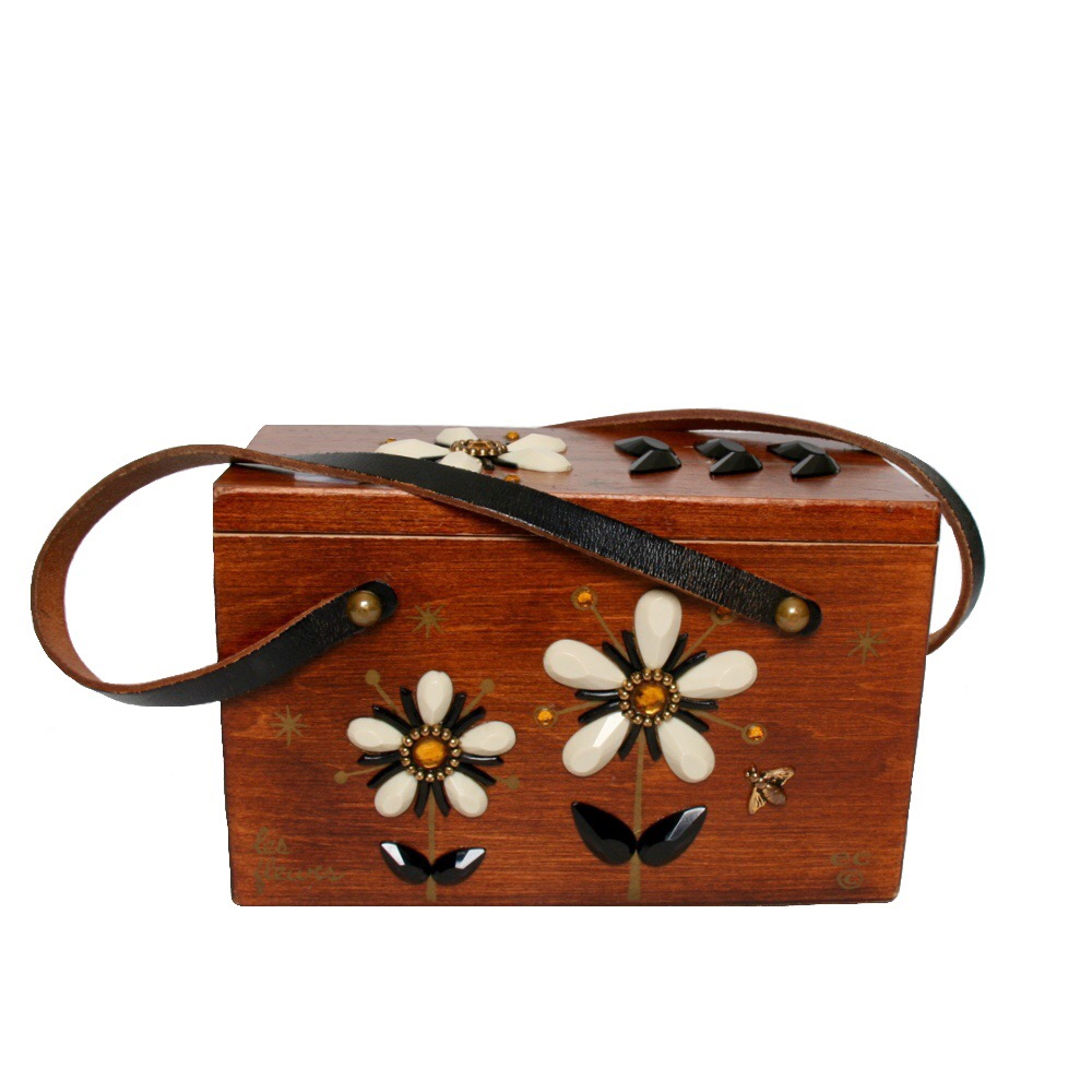 "Enid Collins of Texas ""les fleurs"" box bag   height - 5 3/8"" width - 8 5/8""  depth - 4 1/4"""