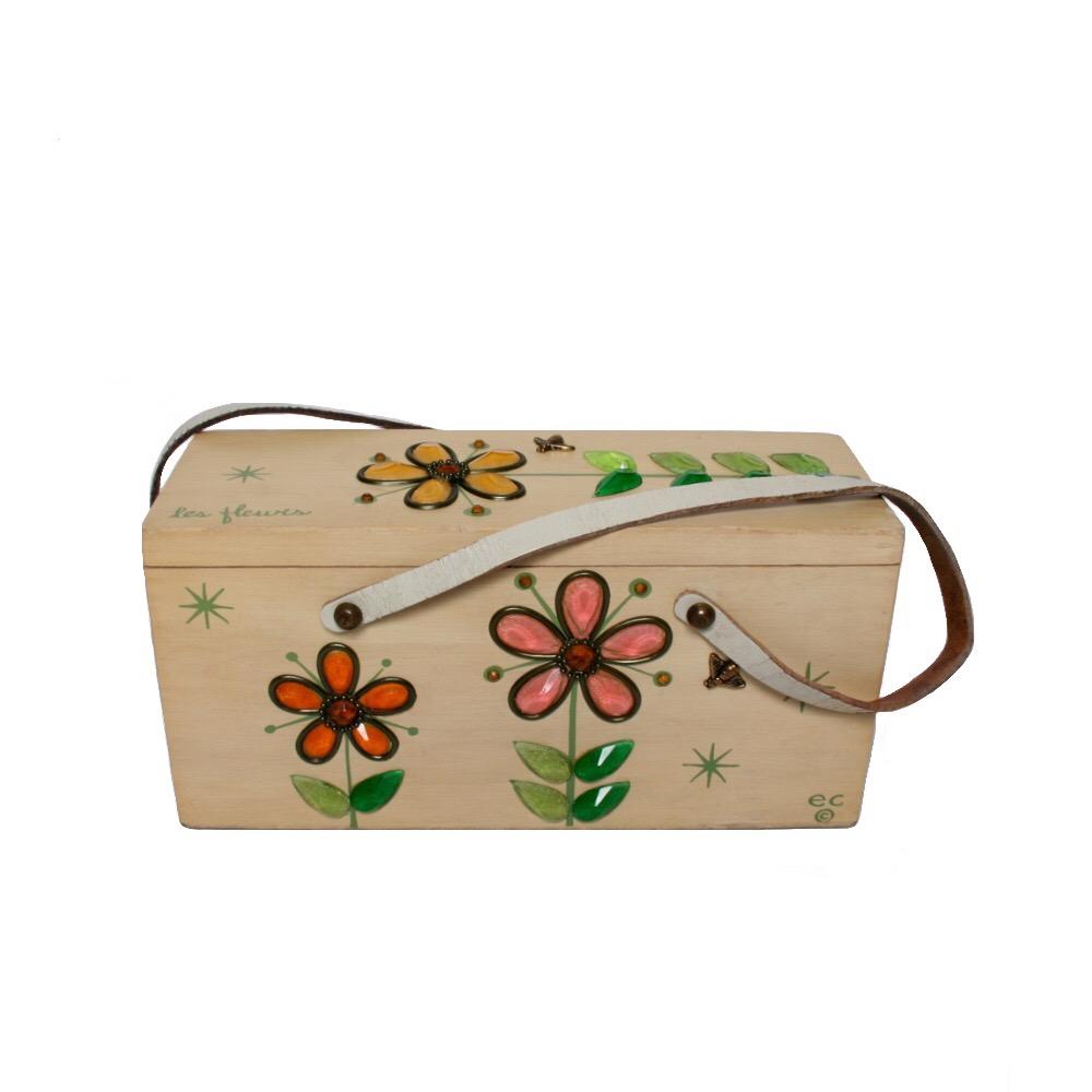 "Enid Collins of Texas ""les fleurs"" box bag   height - 4 1/4"" width - 8 5/8""  depth - 11 1/4"""
