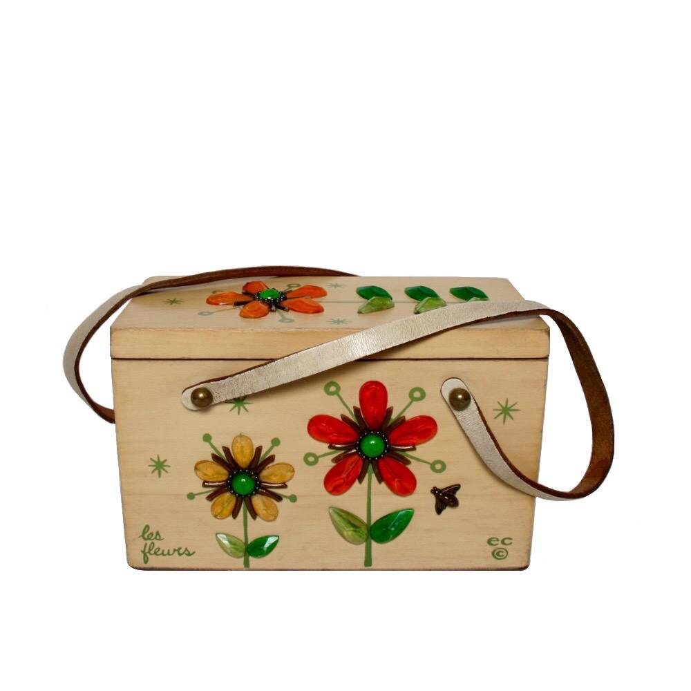 "Enid Collins of Texas ""les fleurs"" box bag   height - 5 3/8"" width -8 5/8""  depth - 4 1/4"""