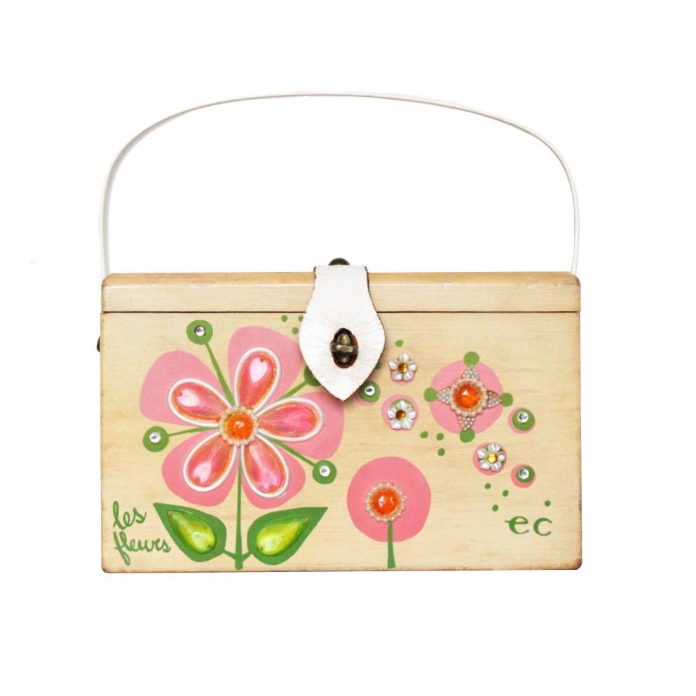 "Enid Collins of Texas ""les fleurs"" box bag   height -5 3/8"" width - 8 5/8""  depth - 4 1/4"""