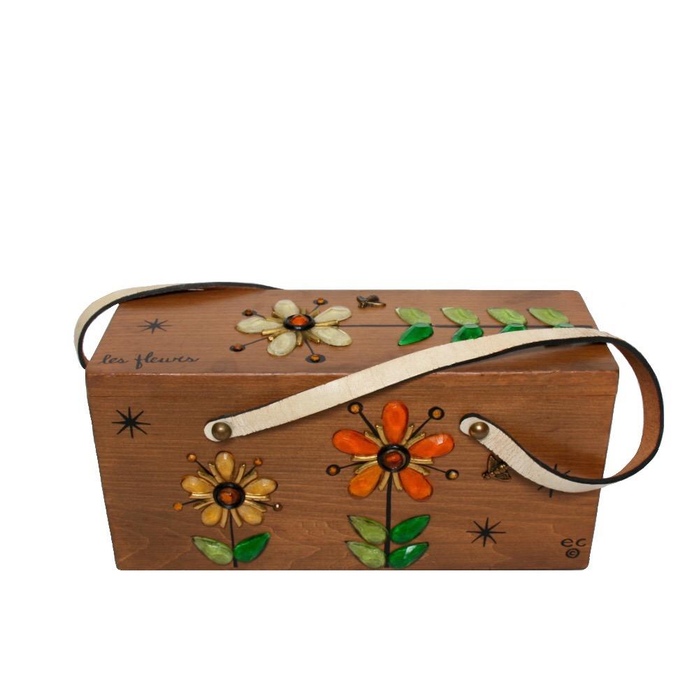 "Enid Collins of Texas ""les fleurs"" box bag   height - 5 1/4"" width - 11""  depth - 4 1/8"""