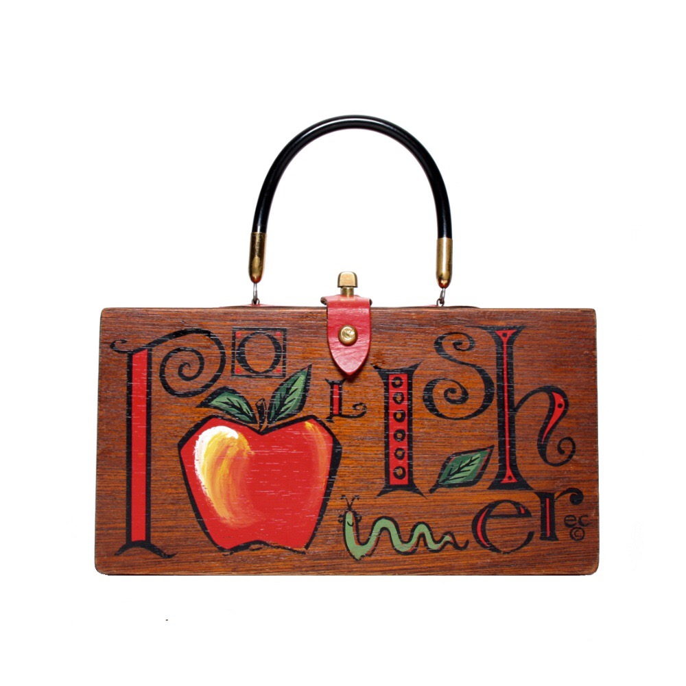 "Enid Collins of Texas 1963 ""Apple Polisher"" box bag                                          height - 5 3/4""    width - 11""    depth - 2 3/4"""