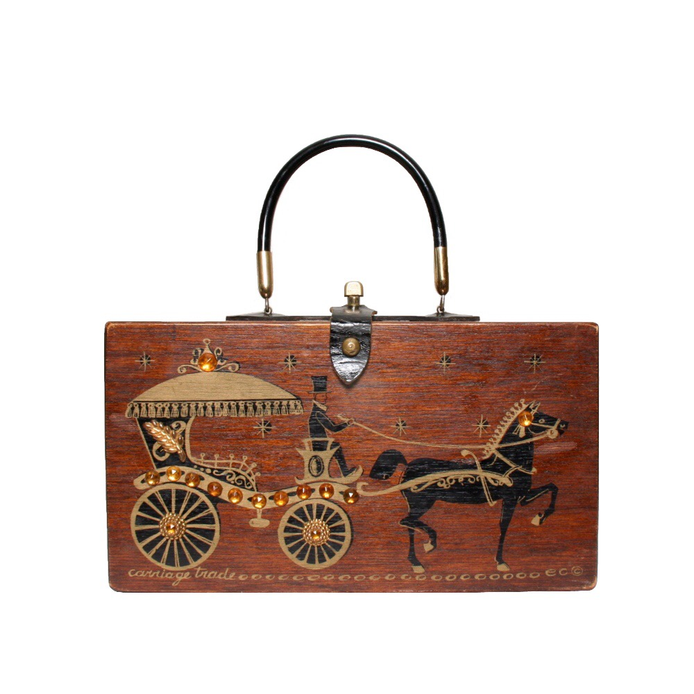 "Enid Collins of Texas 1962 ""carriage trade"" box bag   height - 6 1/2""   width - 11 3/4""   depth -  2 3/4"""