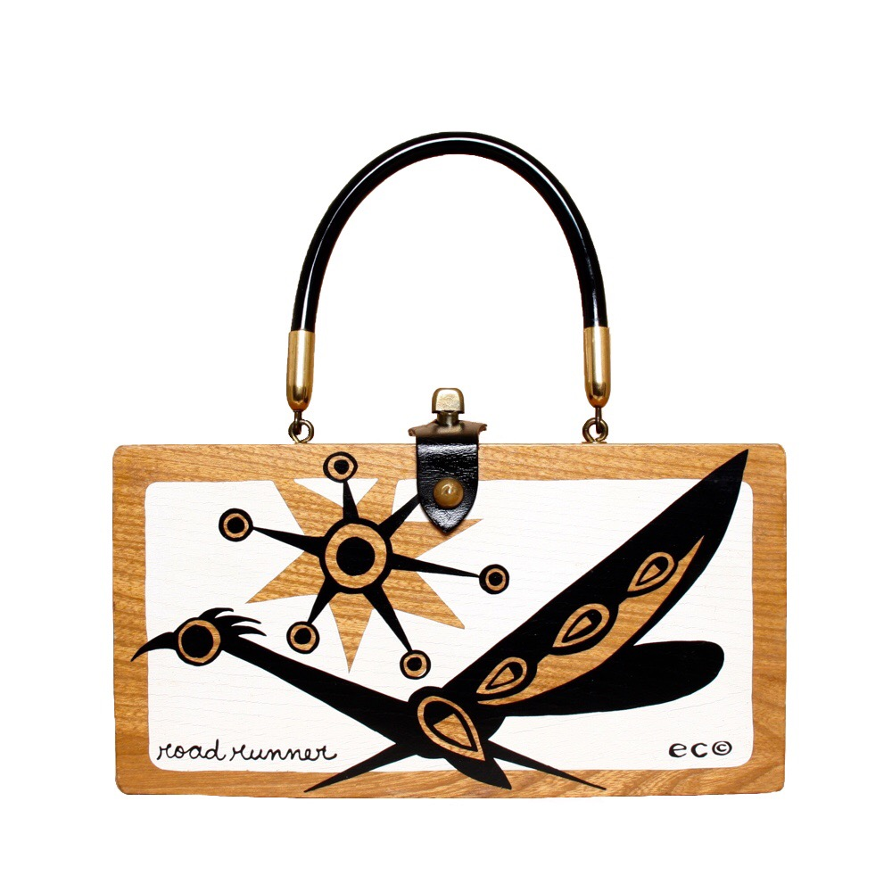 """Enid Collins of Texas """"black and white Road Runner"""" box bag   height - 4 7/8""""  width - 9 3/8""""  depth - 2 3/8"""""""