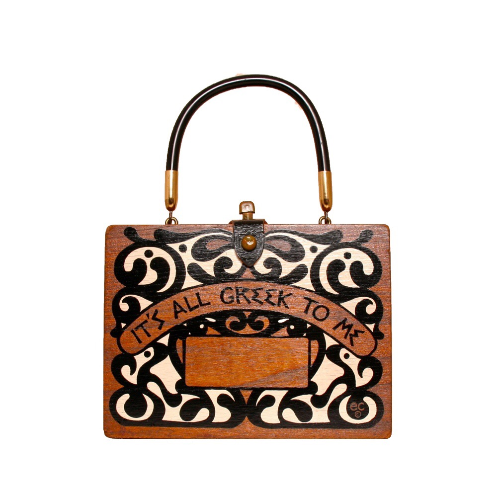 """Enid Collins of Texas """"It's All Greek To Me"""" box bag   height - 5 7/8""""  width - 8"""" depth - 2 3/8"""""""