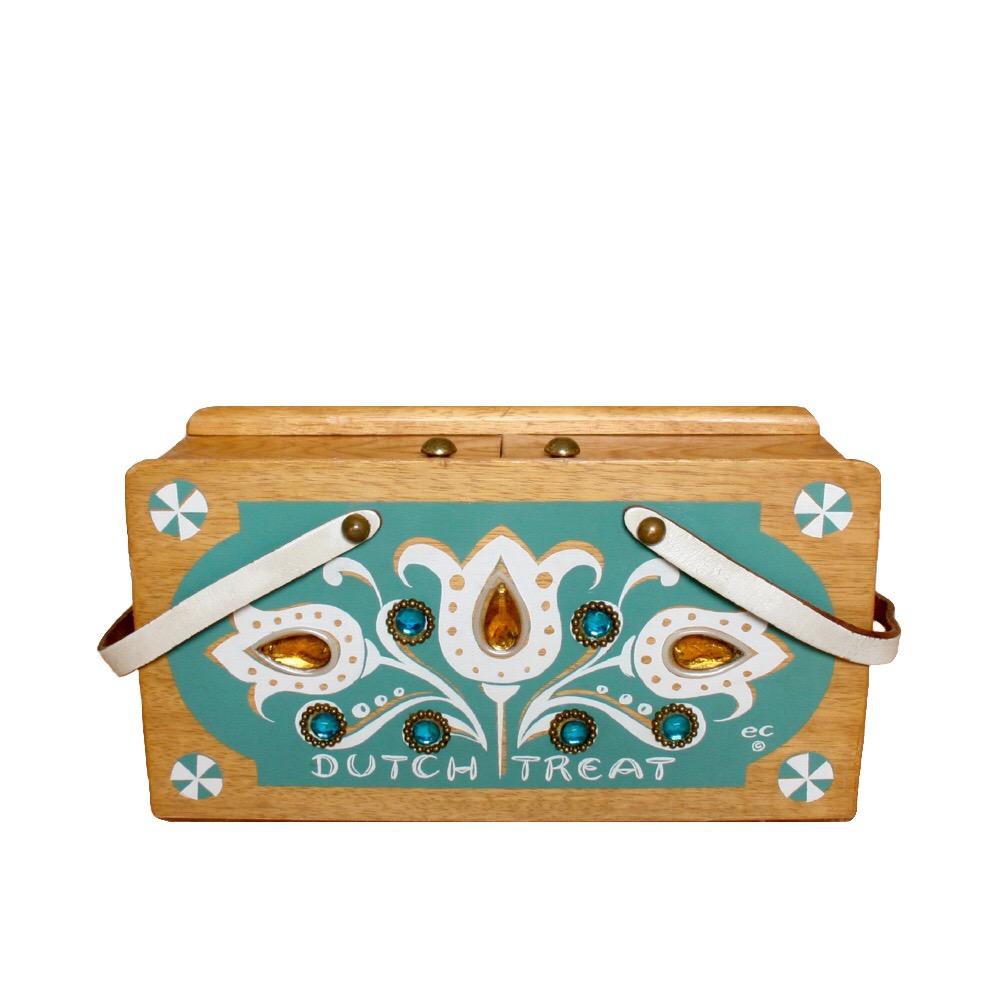 "Enid Collins of Texas 1964 ""DUTCH TREAT"" box bag   height - 5 7/8""  width - 11 1/8""  depth - 4 1/2"""