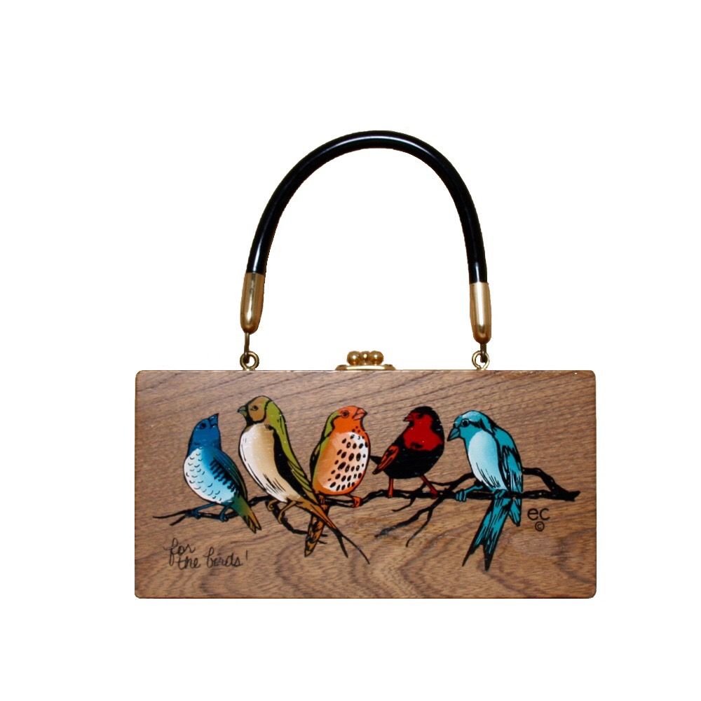 "Enid Collins of Texas ""for the birds"" box bag   height - 4 1/4""   width - 8 5/8""   depth - 2 3/8"""