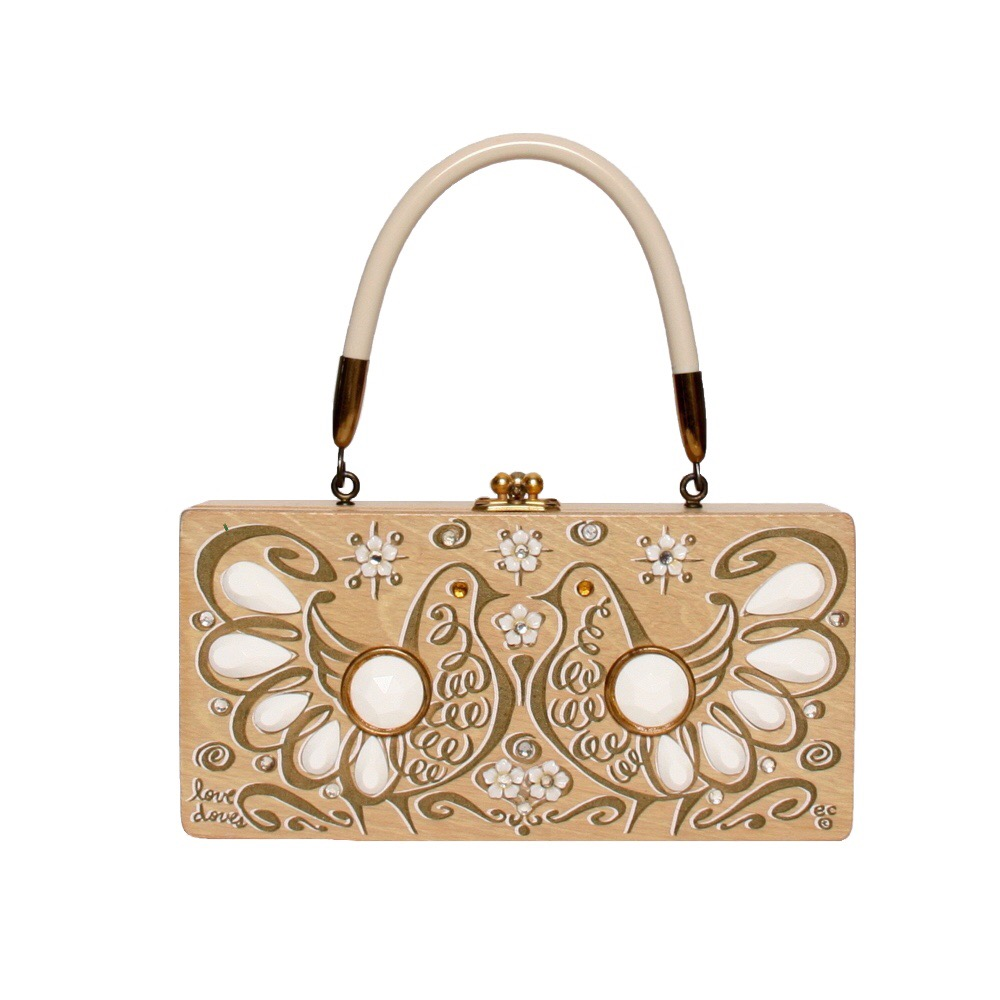 """Enid Collins of Texas """"love doves"""" box bag   height - """"  width - """"  depth - """""""