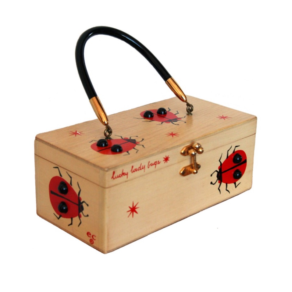 """Enid Collins of Texas """"lucky lady bugs"""" box bag   height - """"  width - """"  depth - """""""